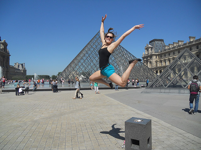 Getting some air on a gorgeous day in the courtyard of The Louvre Museum